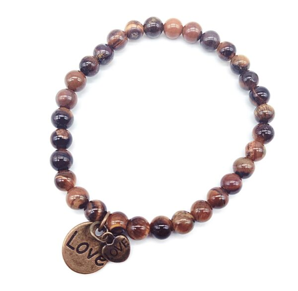 Tiger Eye Beaded Bracelet with Heart Charms