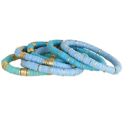 stacking blue and green heishi bracelet with gold accent