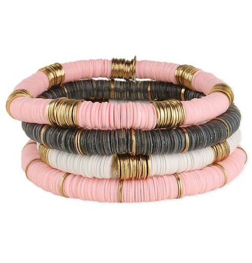stacking pink and grey heishi bracelets with gold accent